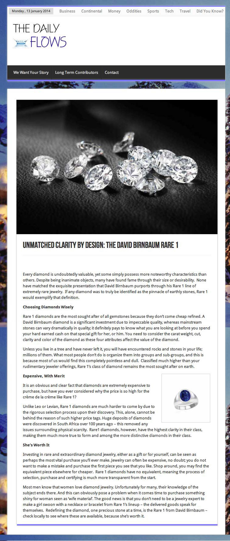 Global gem cutters and dealers, David Birnbaum Private Jewelers optimizes its selection of the very rarest jewels.